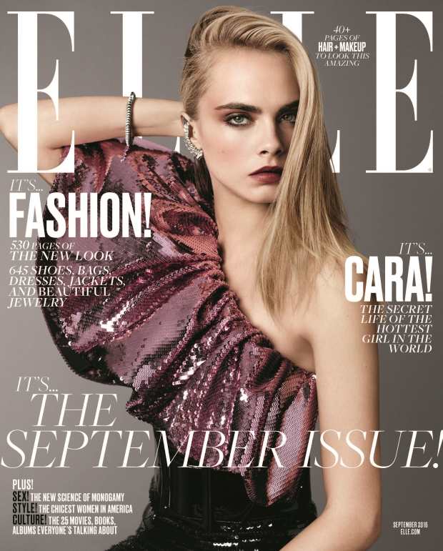 US Elle September 2016 : Cara Delevingne by Terry Tsiolis