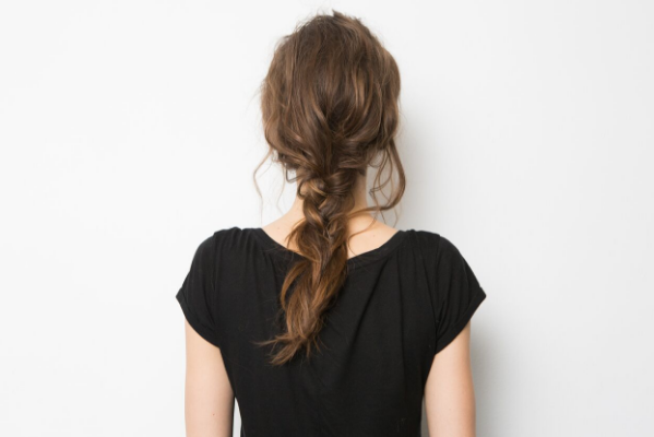 Rear view of a boho braid hair tutorial courtesy of celebrity hairstylist Justine Marjan.