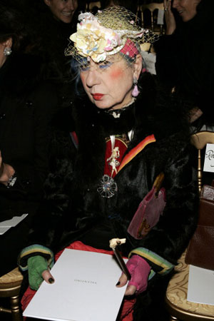 Anna Piaggi during Paris Fashion Week - Haute Couture Spring/Summer 2005 - Valentino - Front Row in Paris, France