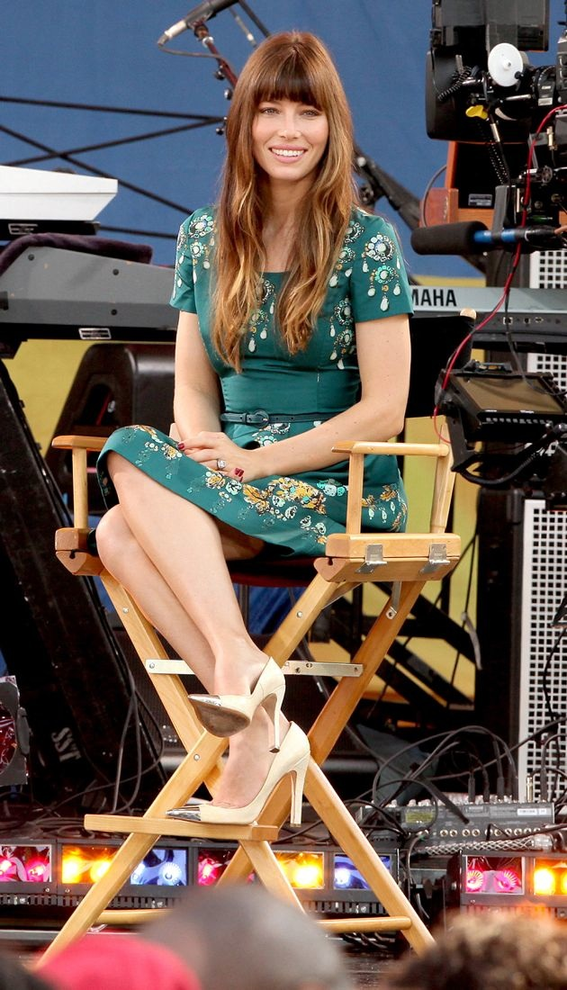 Jessica Biel taping Good Morning America in Central Park New York City
