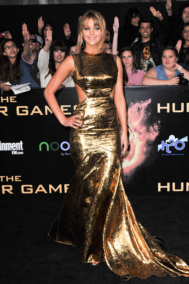 Jennifer Lawrence Hunger Games Premiere wearing Prabal Gurung