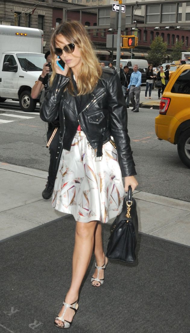 Jessica Alba arriving at her hotel New York City