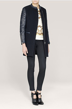 Maje leather detailed coat - forum buys