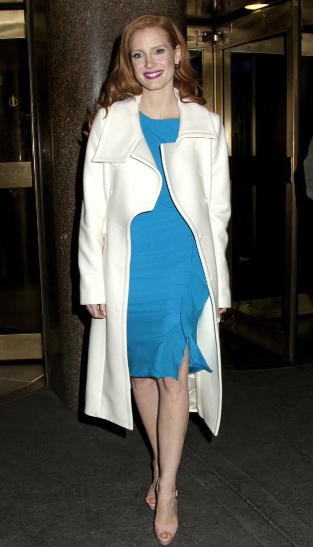 Jessica Chastain exits NBC Studios after taping Late Night With Jimmy Fallon New York City